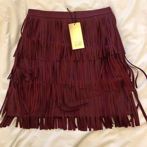 H&M gold tag vegan leather burgundy fringe skirt